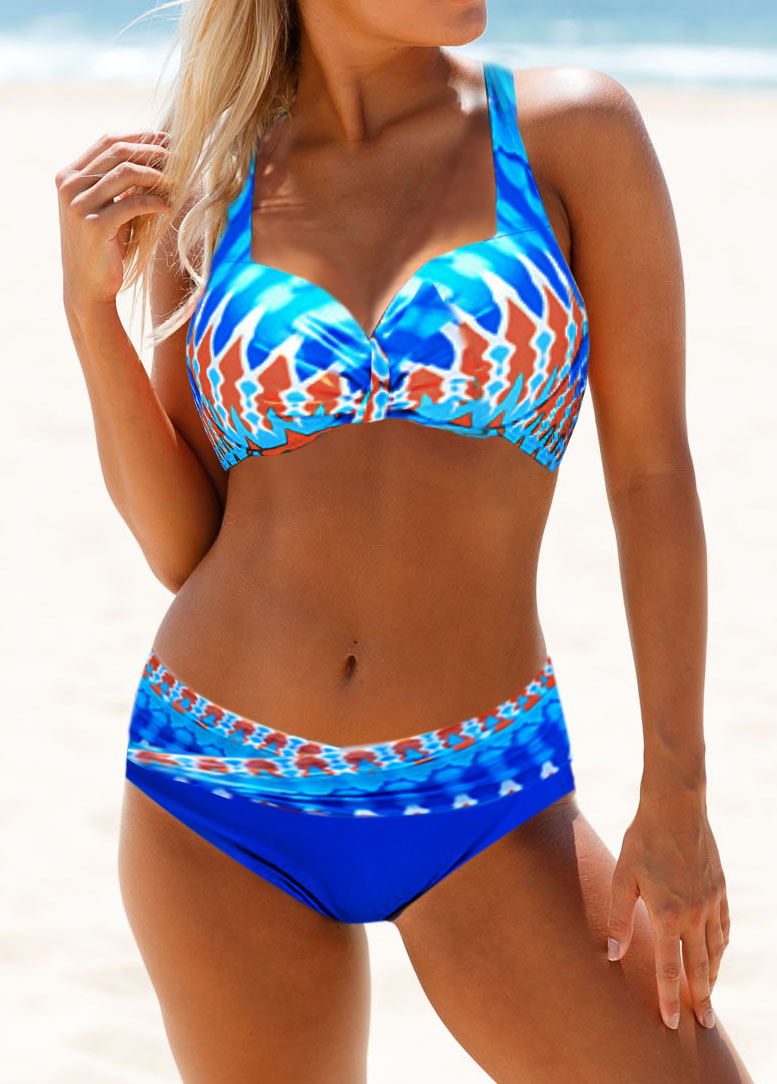 Dazzle Color Printed Cutout Back Bikini Set