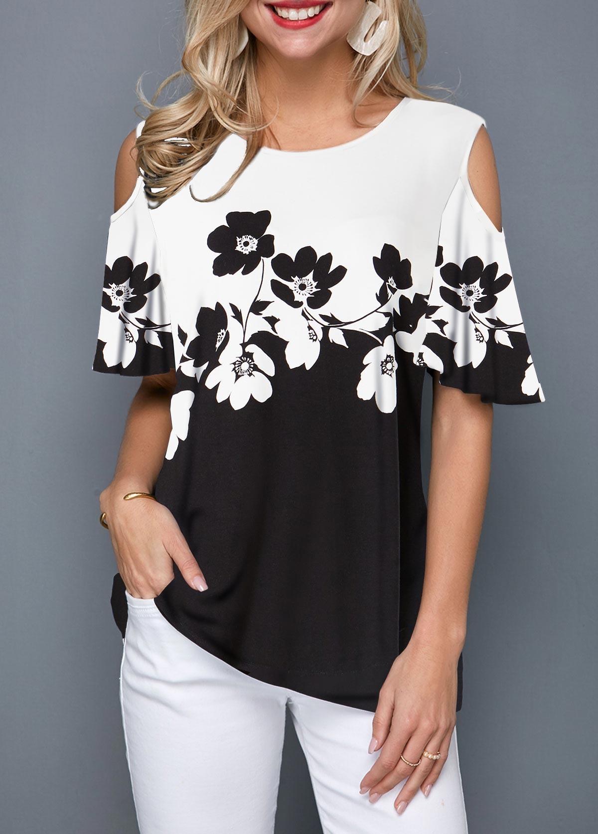 Half Sleeve Cold Shoulder Flower Print T Shirt