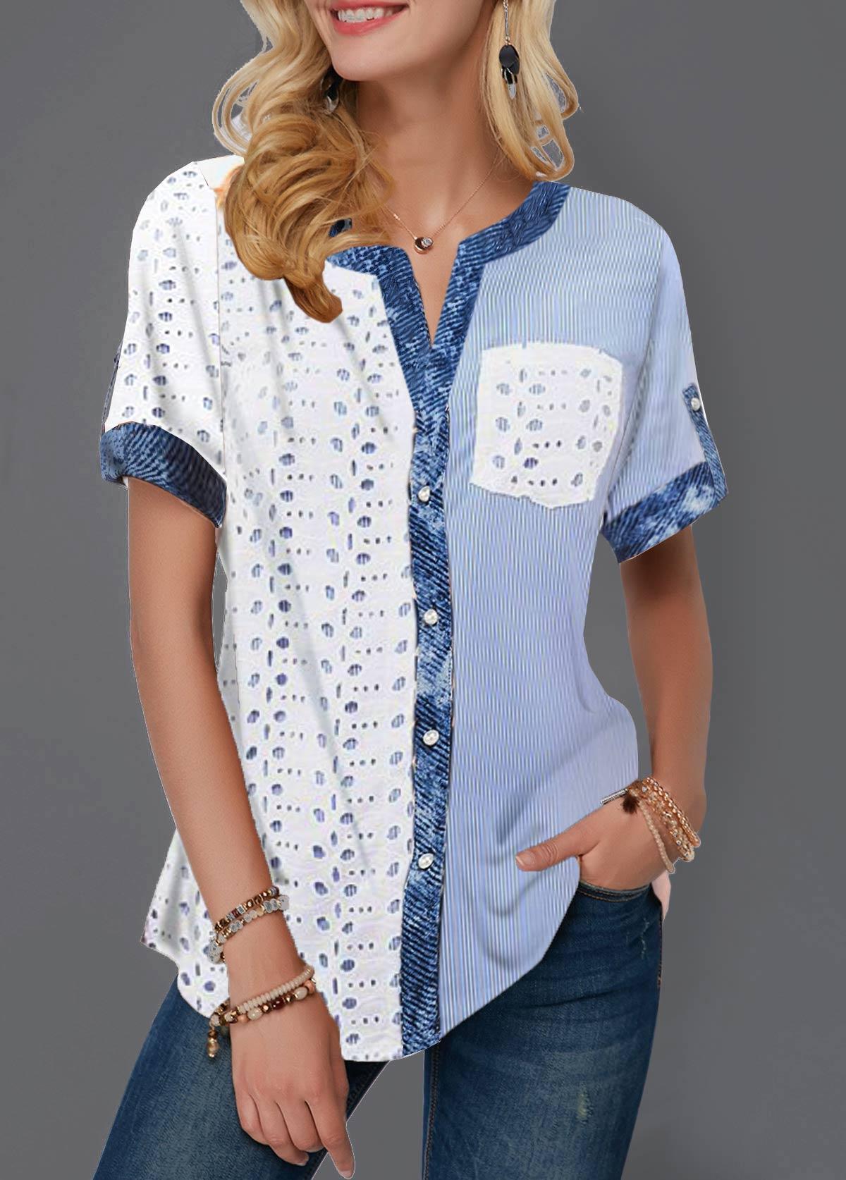 Split Neck Button Detail Pierced and Striped T Shirt