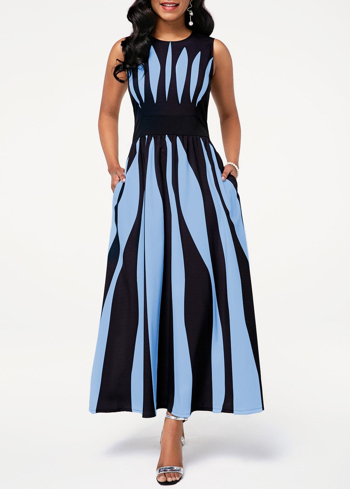 Round Neck Sleeveless Stripe Print Pocket Dress