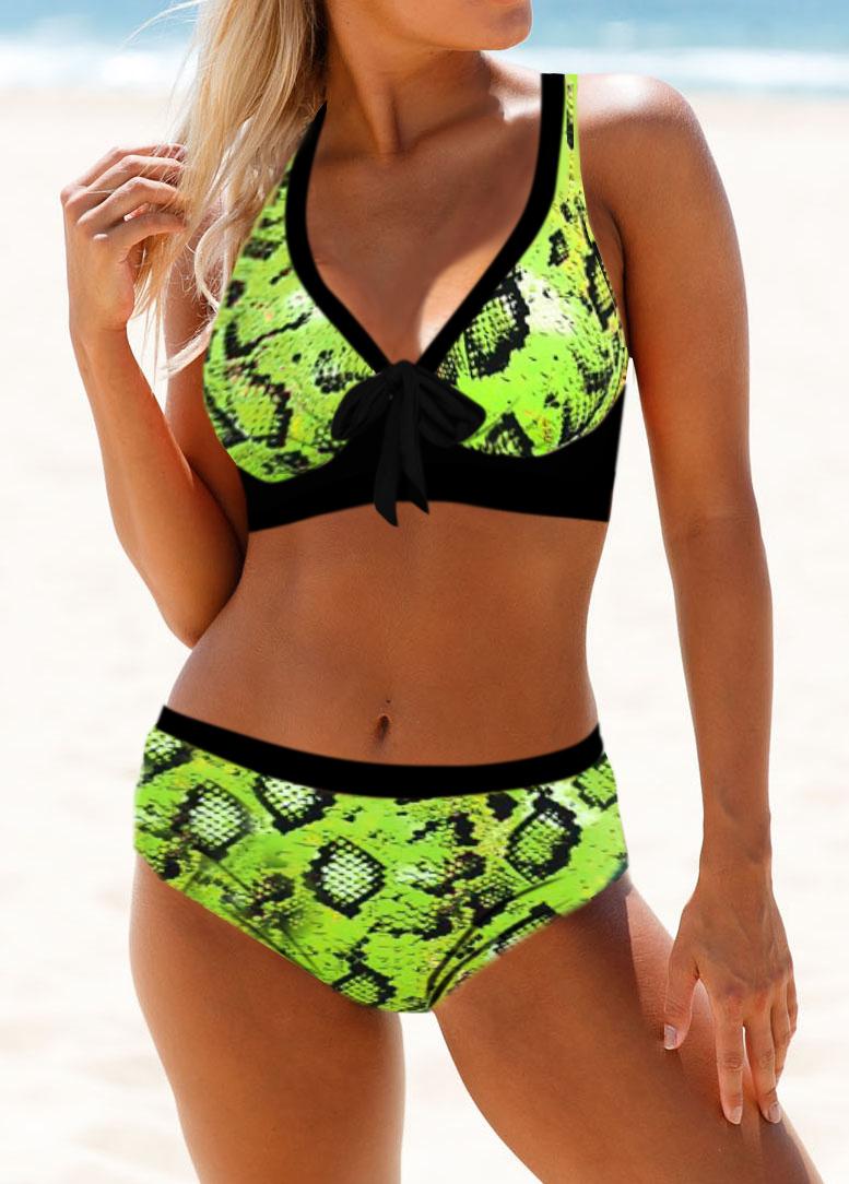 Cross Strap Neon Snake Print Bikini Set