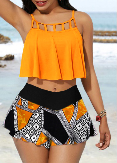 Overlay Cage Neck Top and Printed Pantskirt