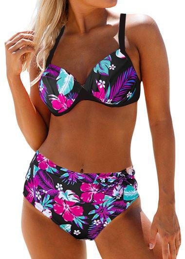 High Waist Cross Strap Floral Print Bikini Set