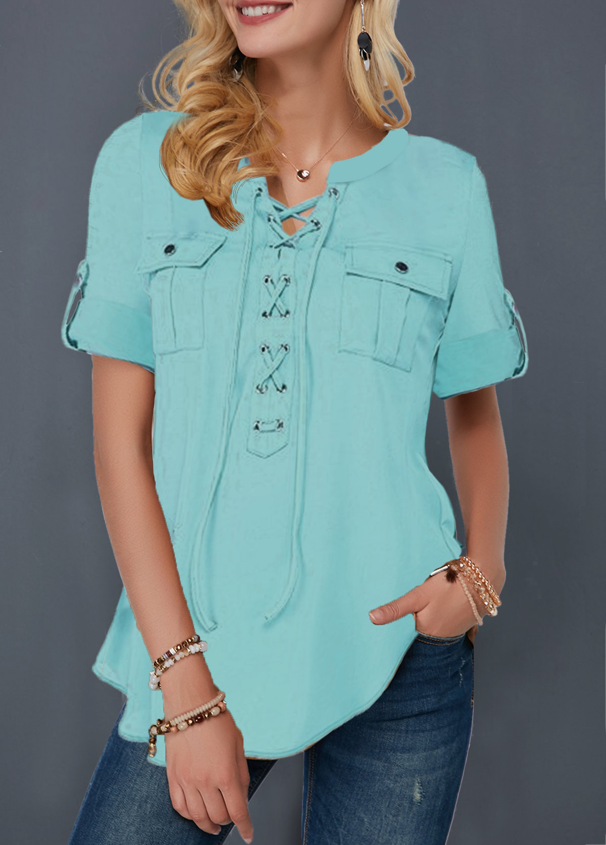 Lace Up Front Roll Tab Sleeve Blouse