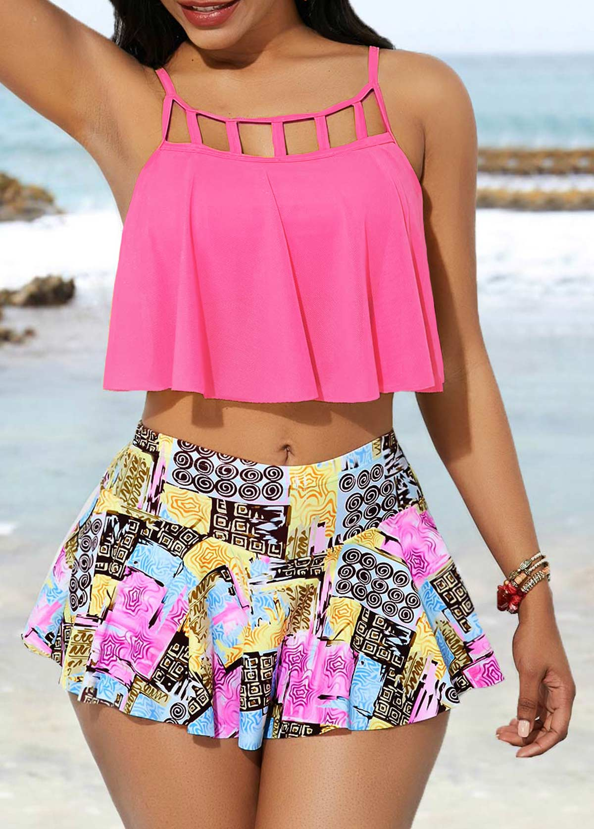 Cage Neck Swimwear Top and High Waist Pantskirt