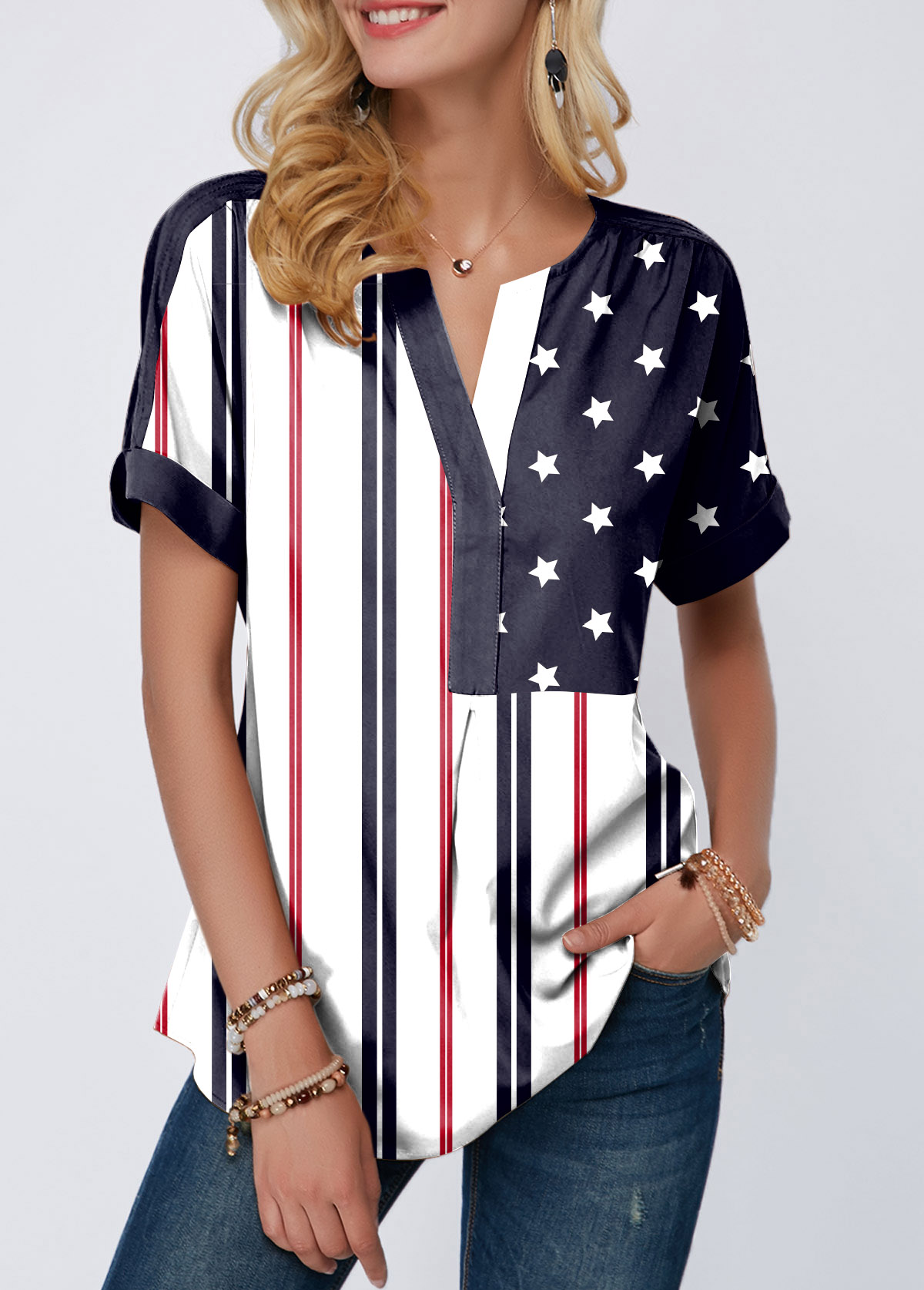 ROTITA Split Neck Curved Hem Short Sleeve American Flag Print Blouse