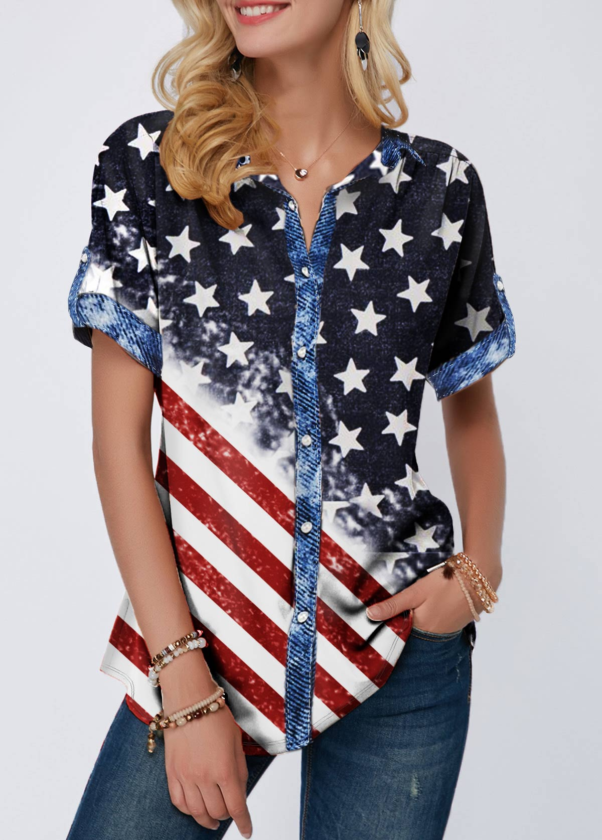 Button Up Flag Print Short Sleeve T Shirt