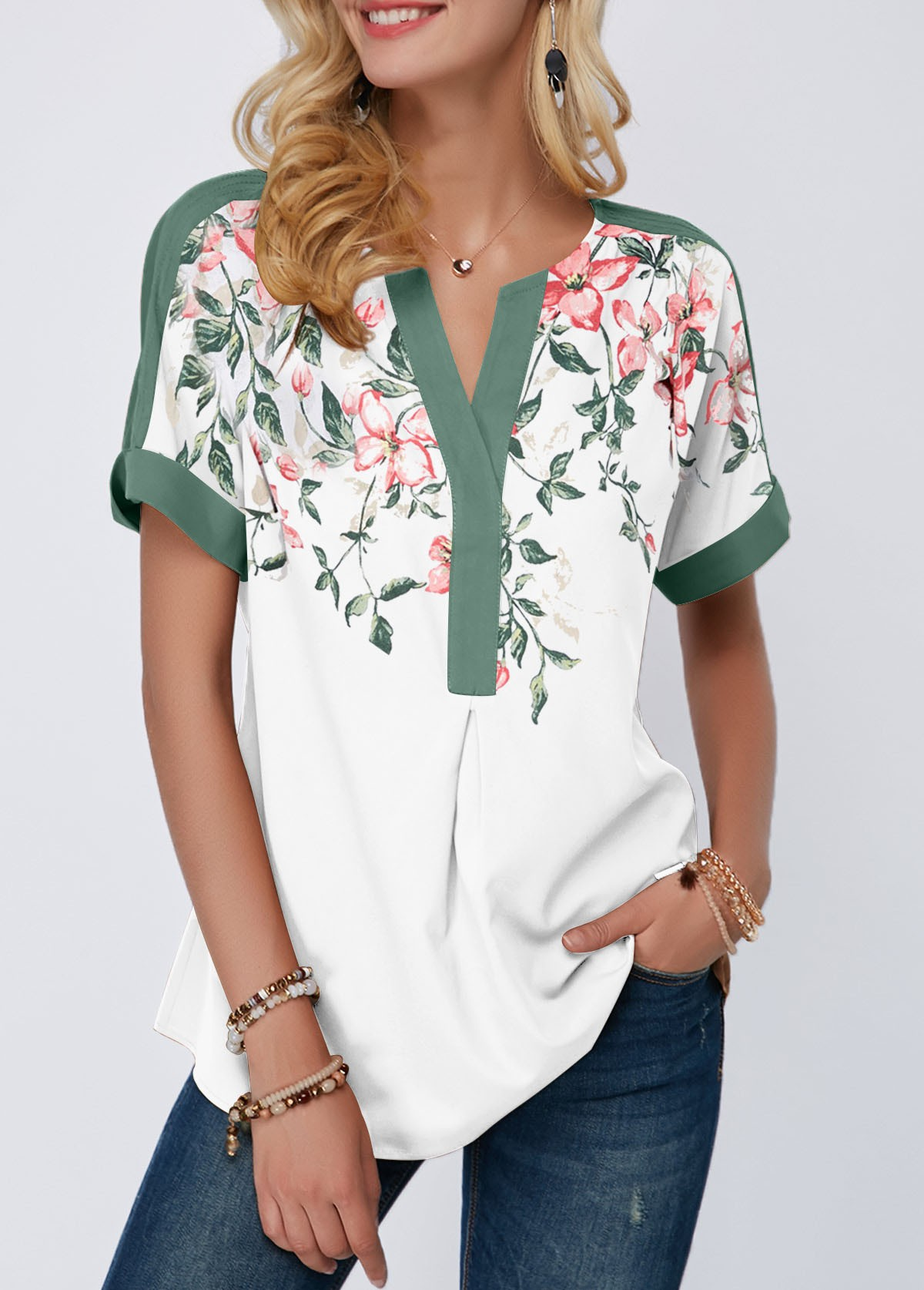 ROTITA Notch Neck Floral Print Contrast Piping Blouse