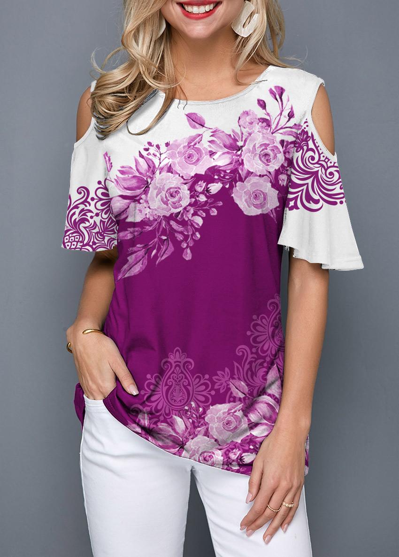 Cold Shoulder Flower Print Round Neck T Shirt