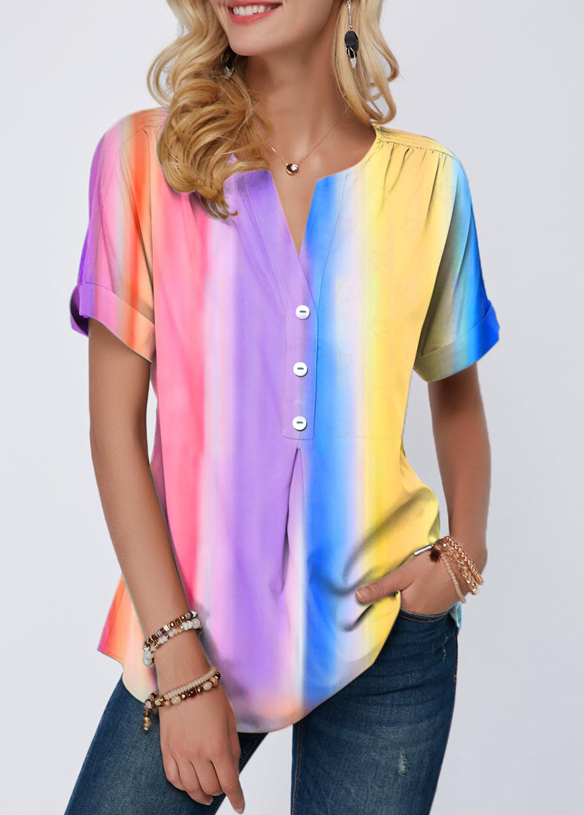 Rainbow Color Button Detail Tie Dye Print T Shirt
