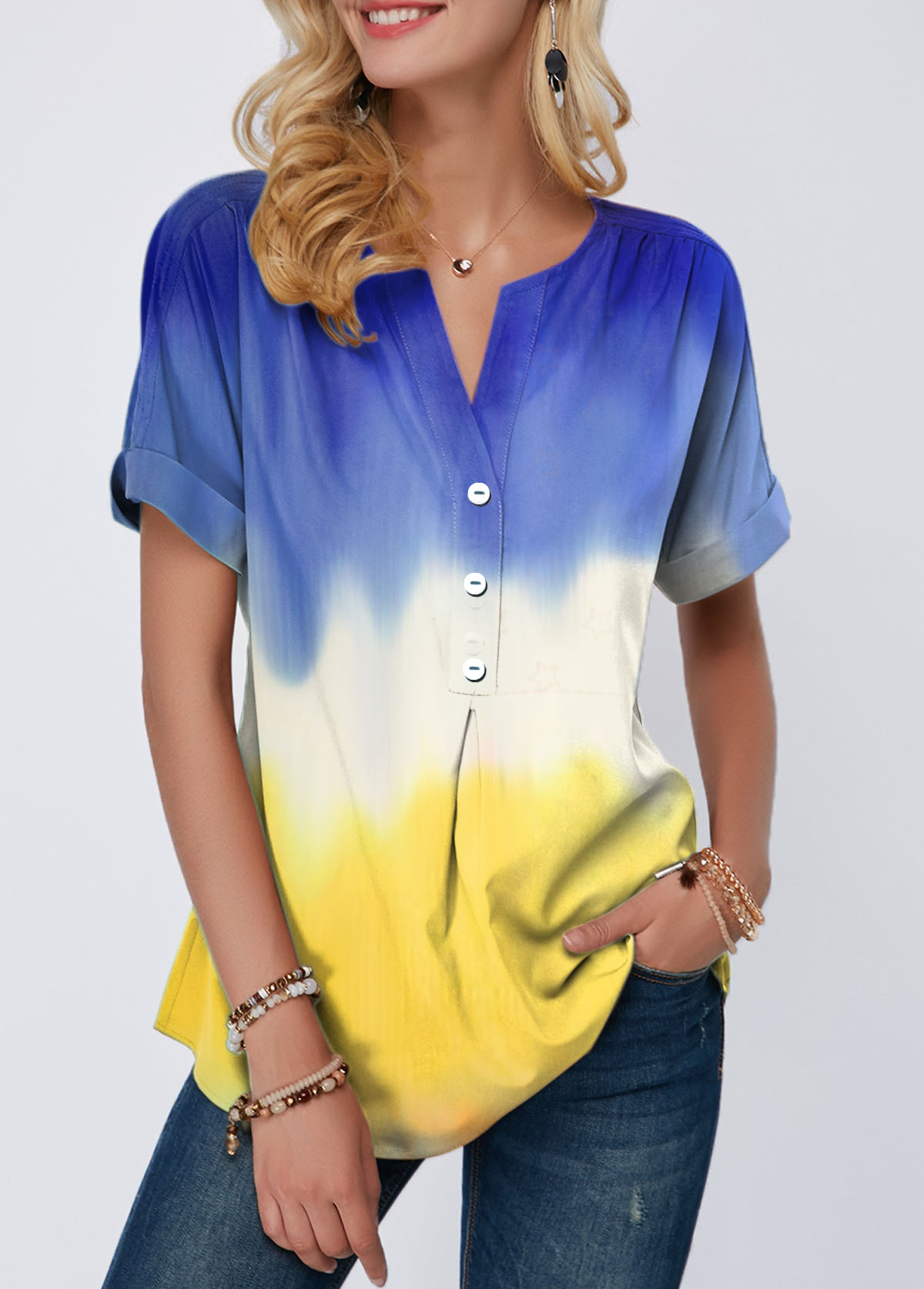 Color Block Split Neck Button Detail T Shirt