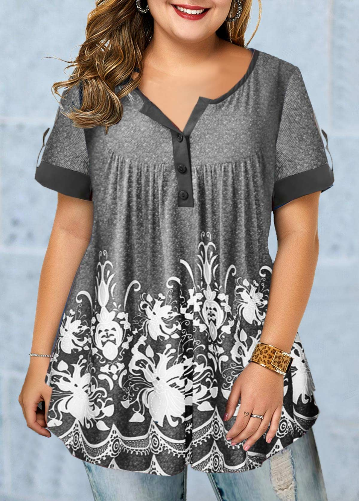 Short Sleeve Button Detail Printed Plus Size Blouse