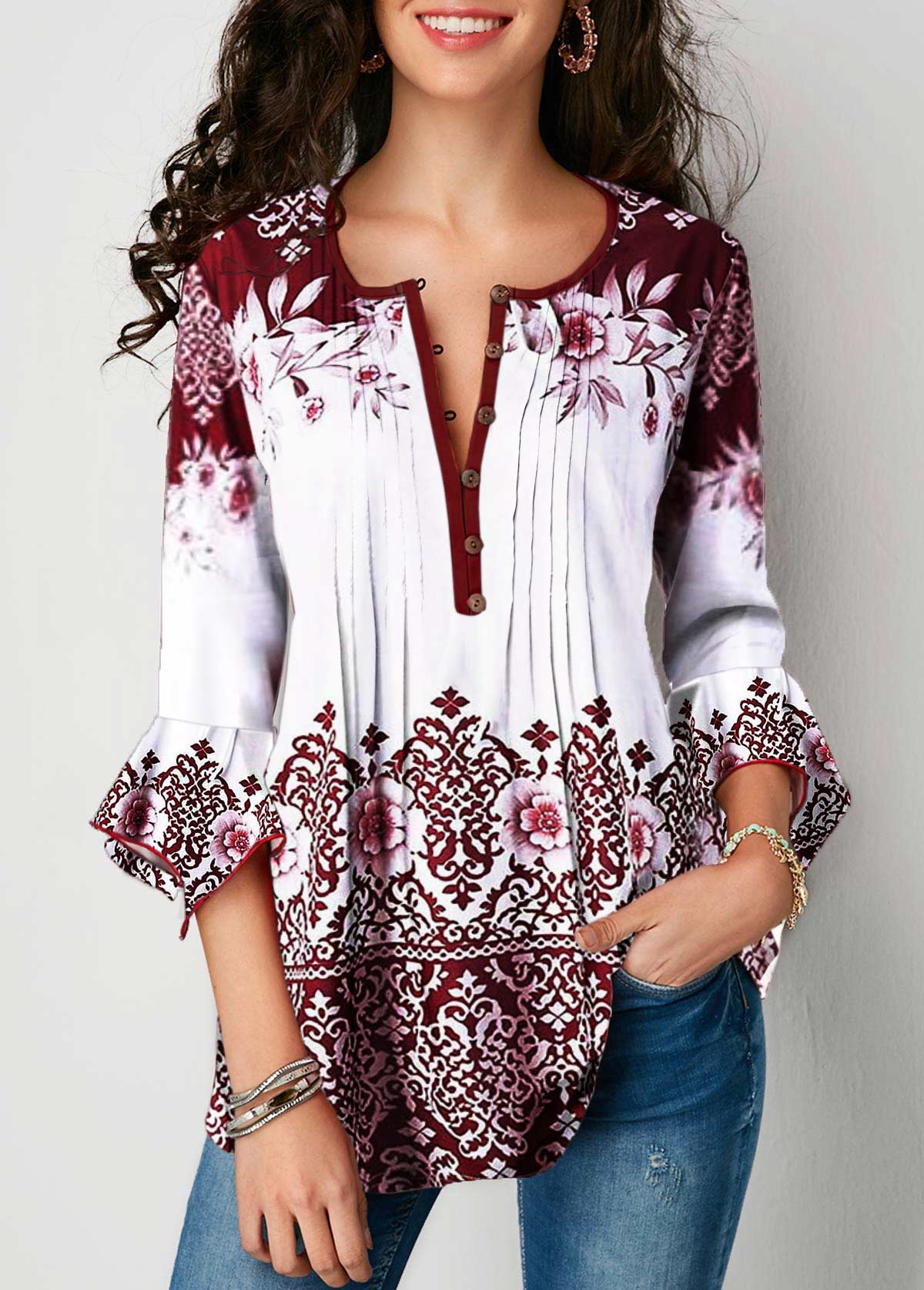 Three Quarter Sleeve Crinkle Chest Tribal Print Blouse