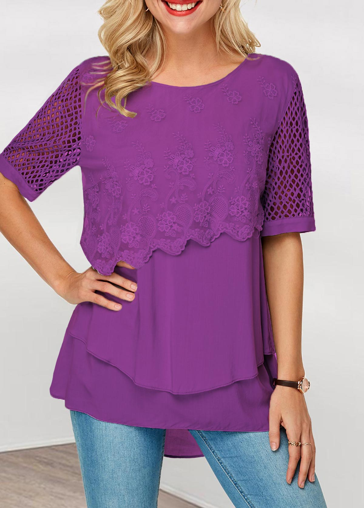 Lace Panel Keyhole Back Layered Hem Blouse