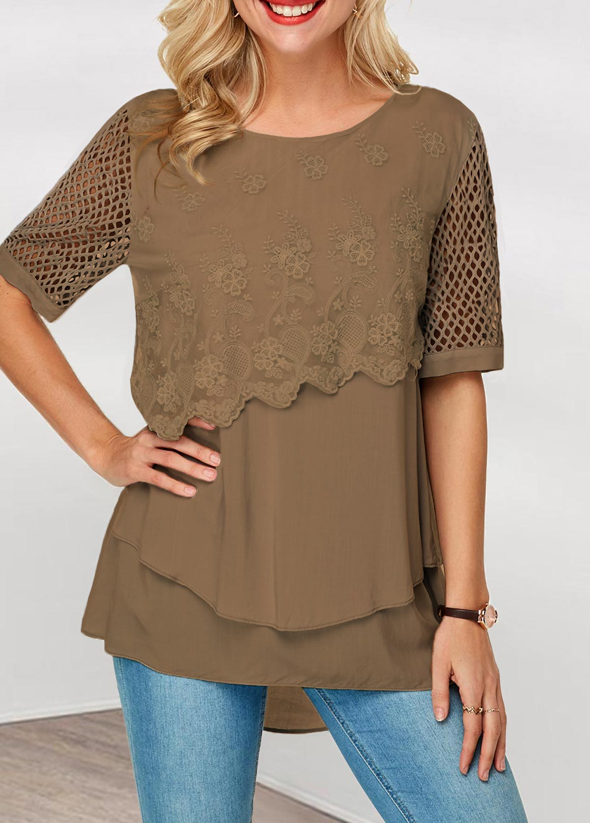 Layered Hem Keyhole Back Lace Panel Blouse