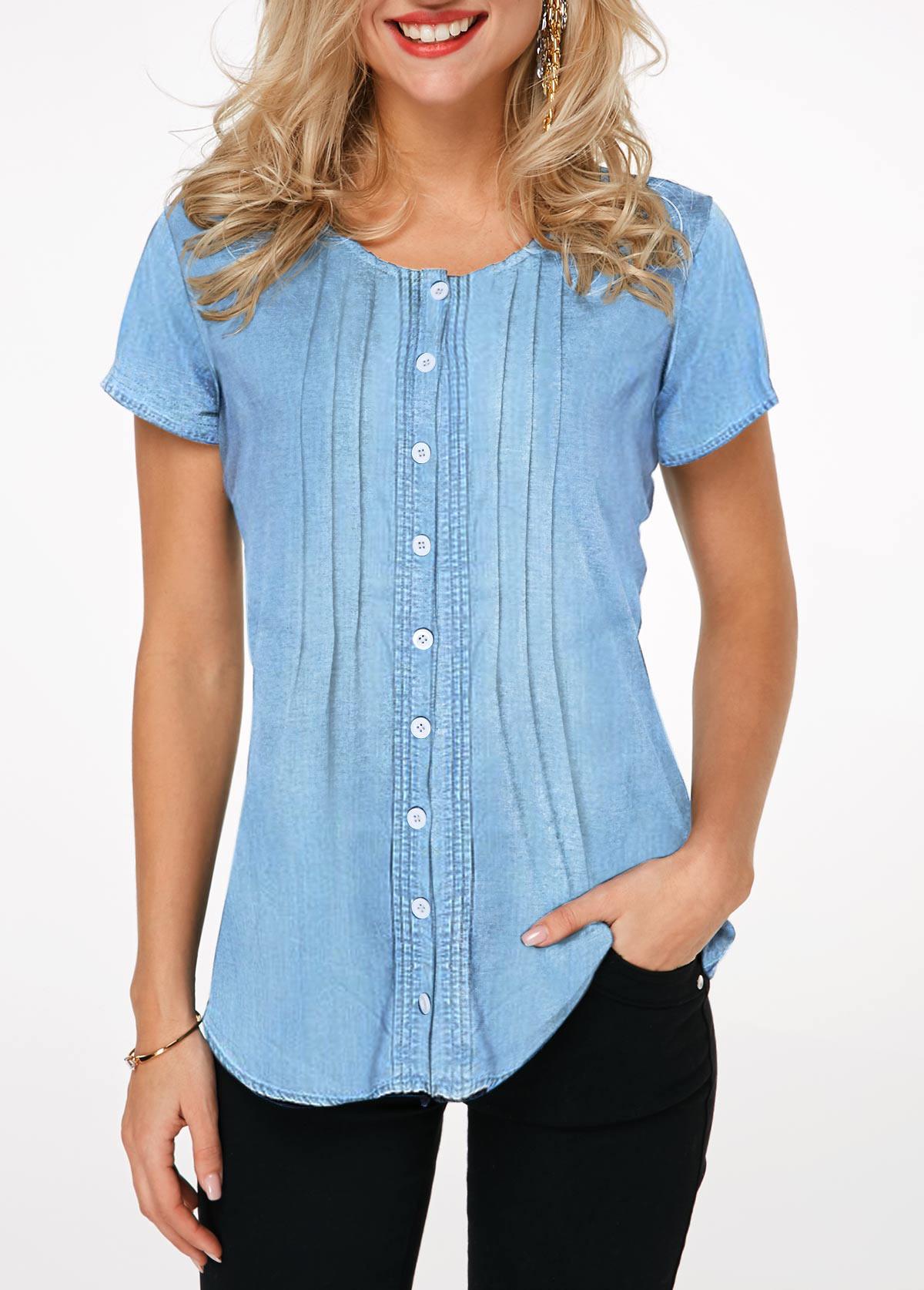 Crinkle Chest Button Up Denim Shirt