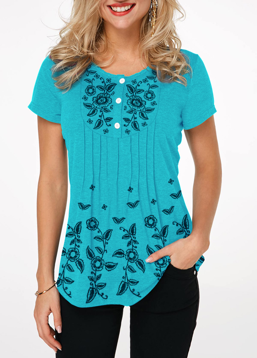 Button Front Crinkle Chest Printed T Shirt
