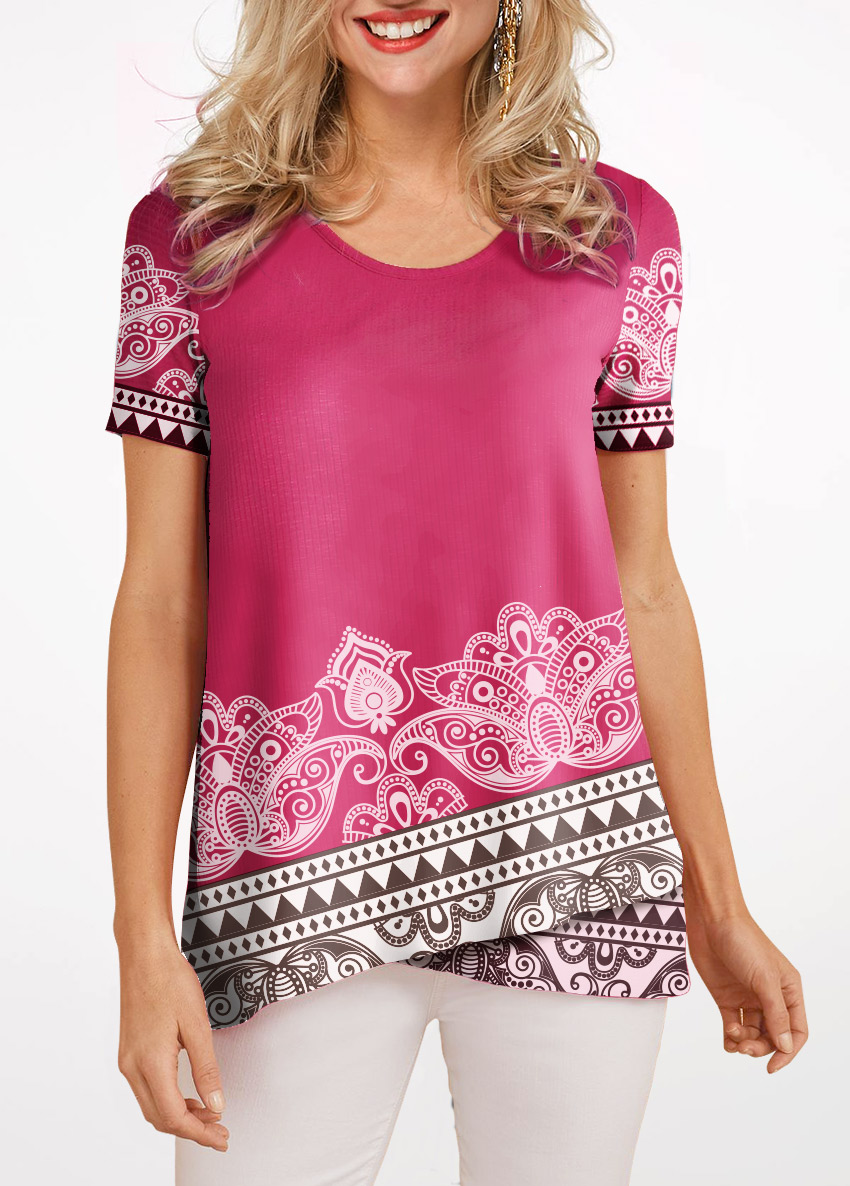 Short Sleeve Round Neck Crossover Hem Blouse
