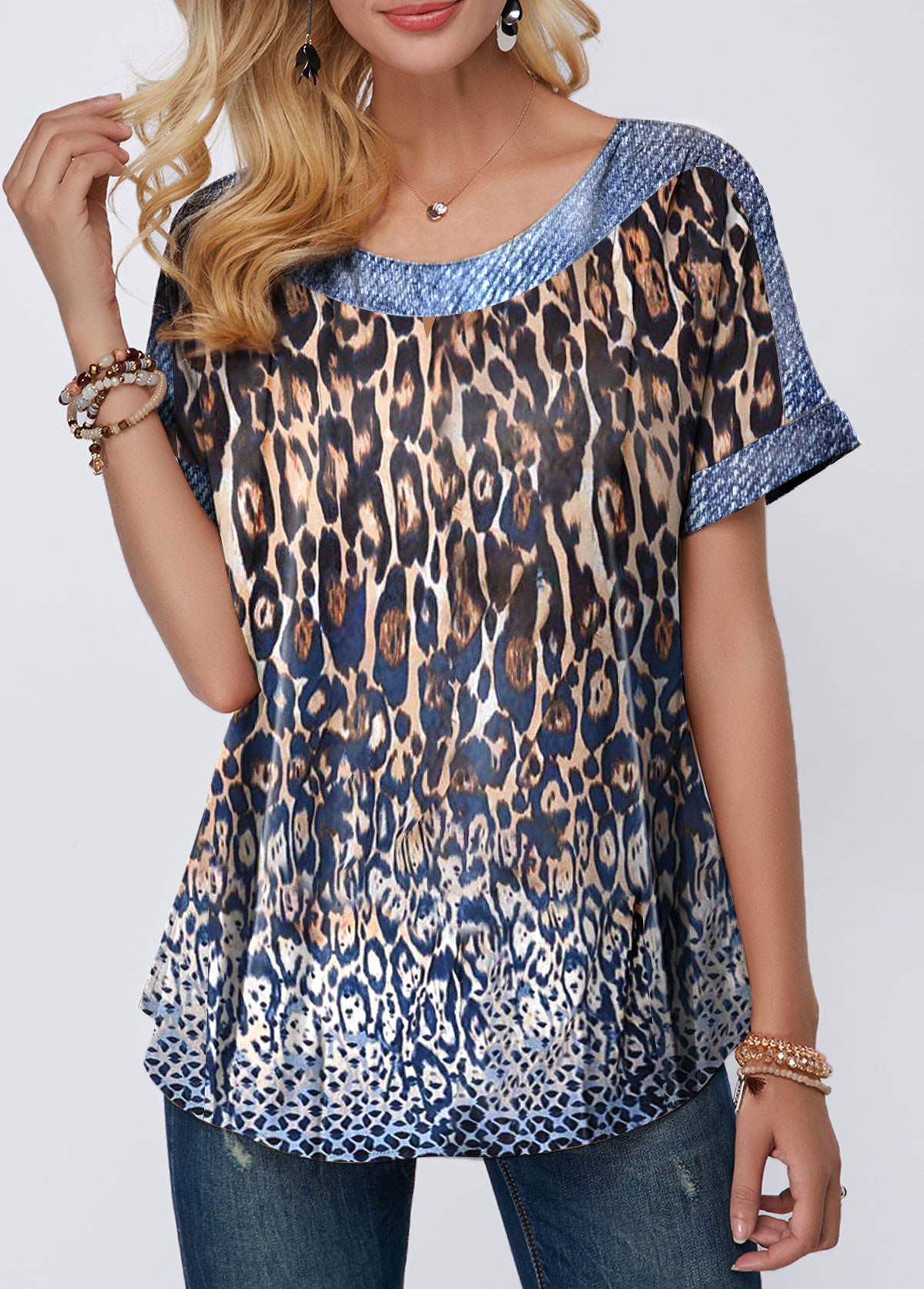 Leopard Print Round Neck Short Sleeve Blouse