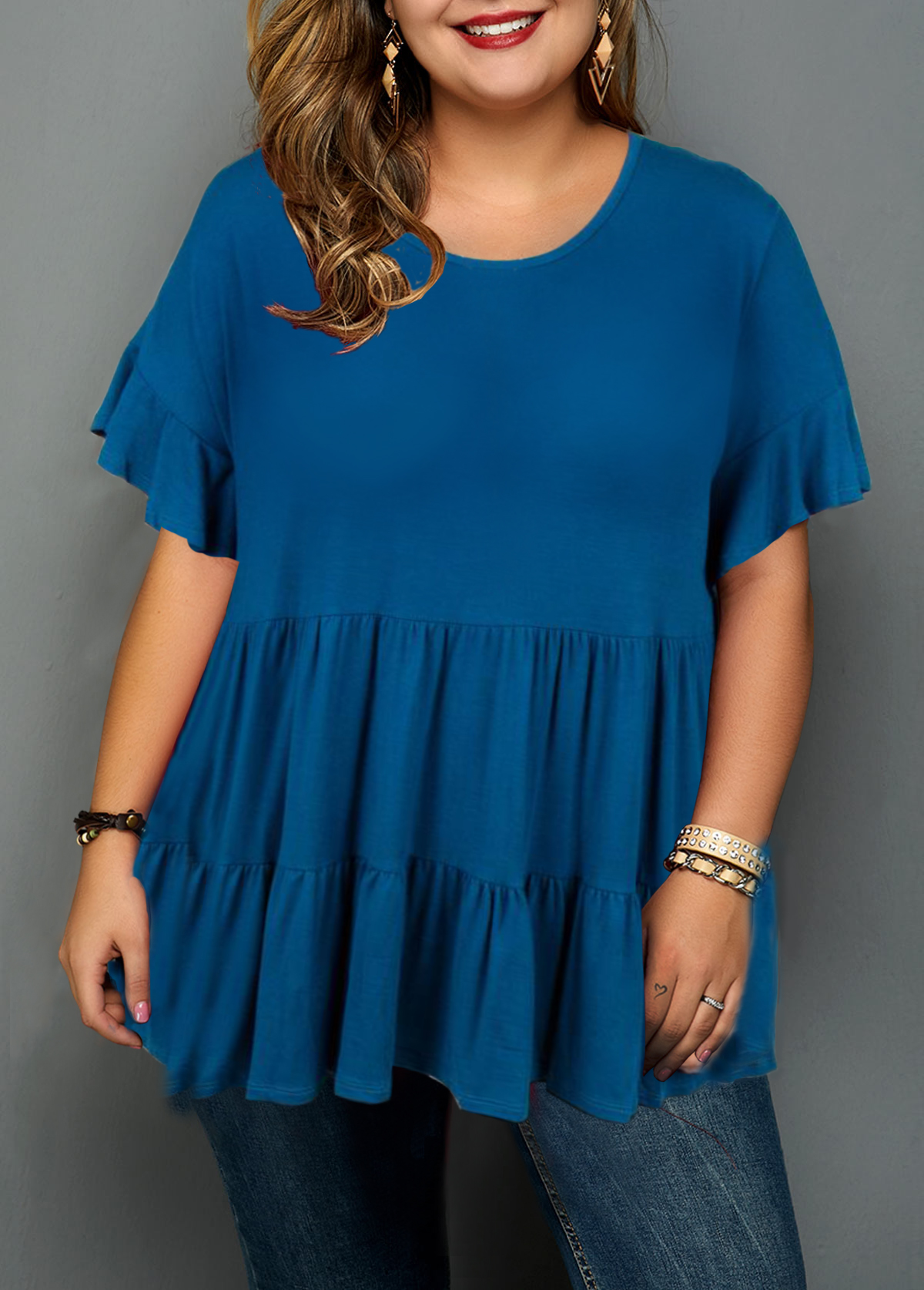 Ruffle Hem Flare Sleeve Navy Blue Blouse