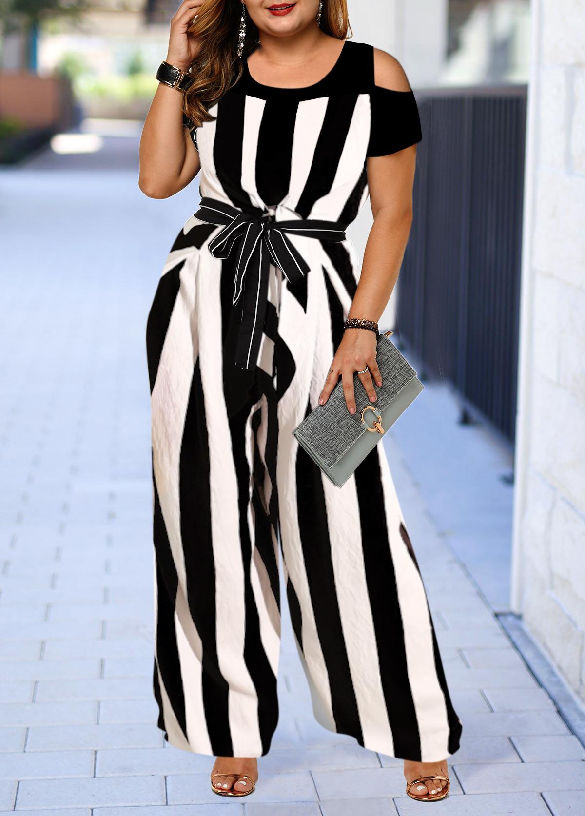 Plus Size Cold Shoulder Color Block Striped Jumpsuit