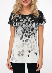 Round Neck Short Sleeve Printed T Shirt
