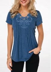 590760979ad9e Crinkle Chest Short Sleeve Blue T Shirt
