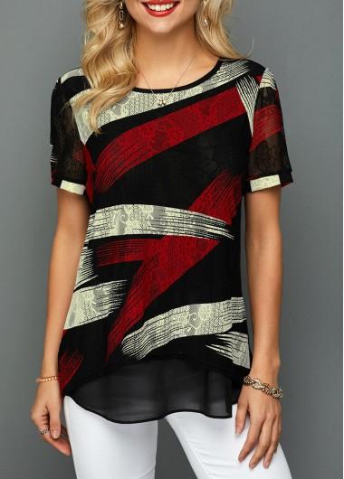 Printed Short Sleeve Curved Hem Lace T Shirt
