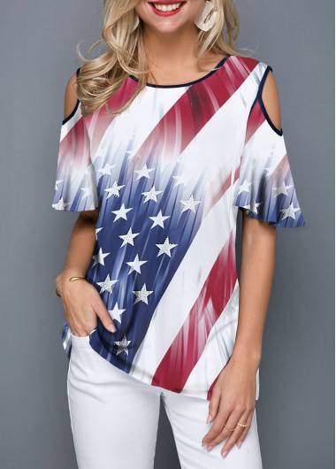 e2853c5712a -56%. Quick Shop. Added Successfully. Contrast Piping Printed Cold Shoulder  T Shirt