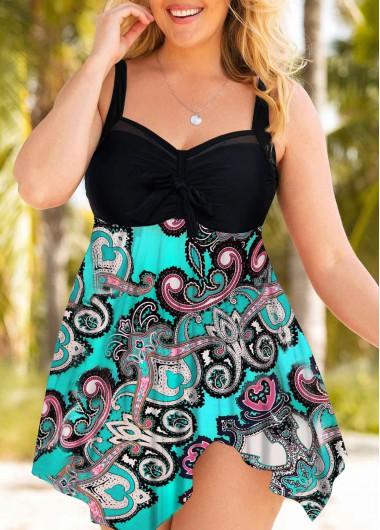 Plus Size Handkerchief Hem Paisley Print Swimdress and Shorts