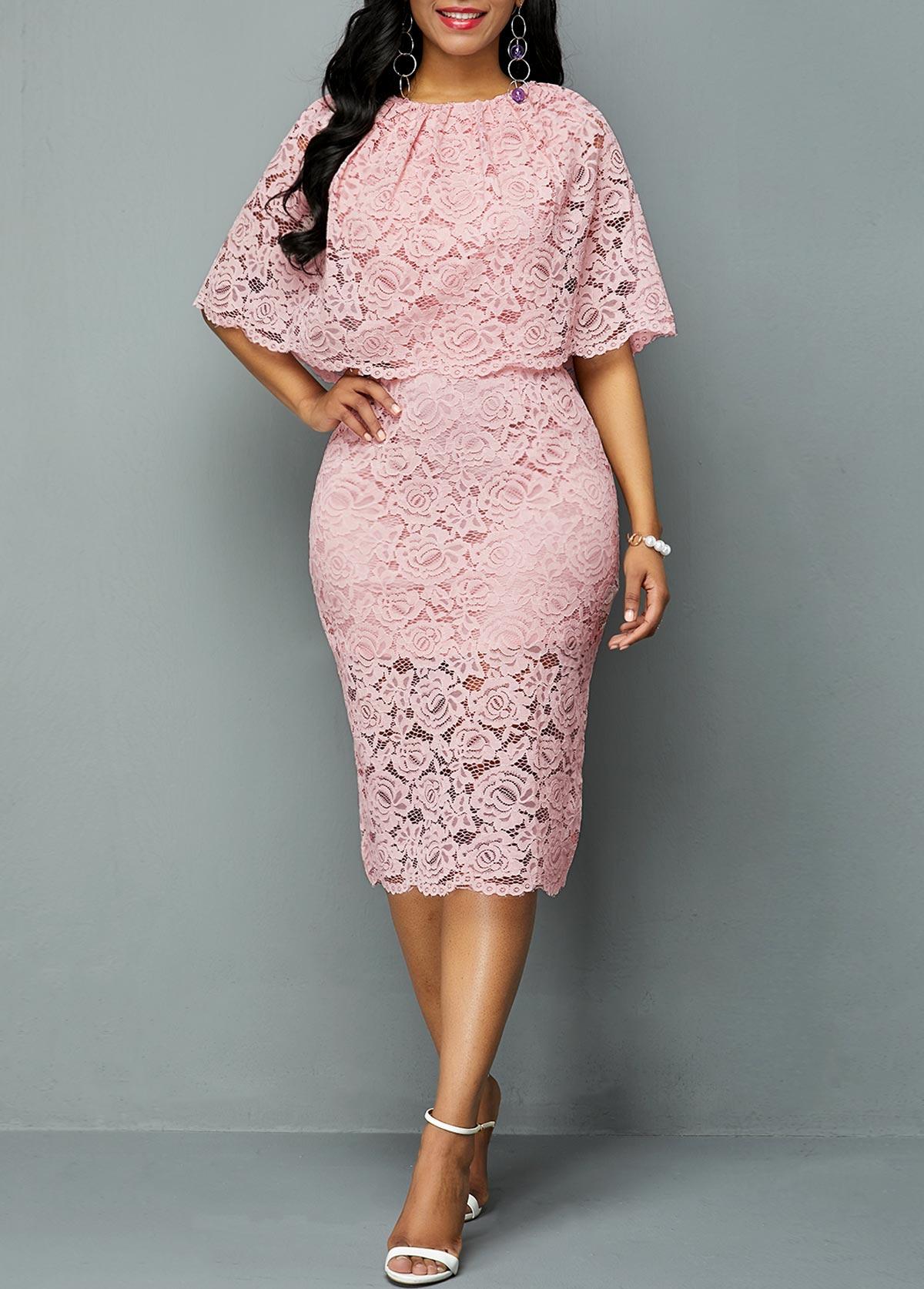 Half Sleeve Overlay Embellished Lace Dress