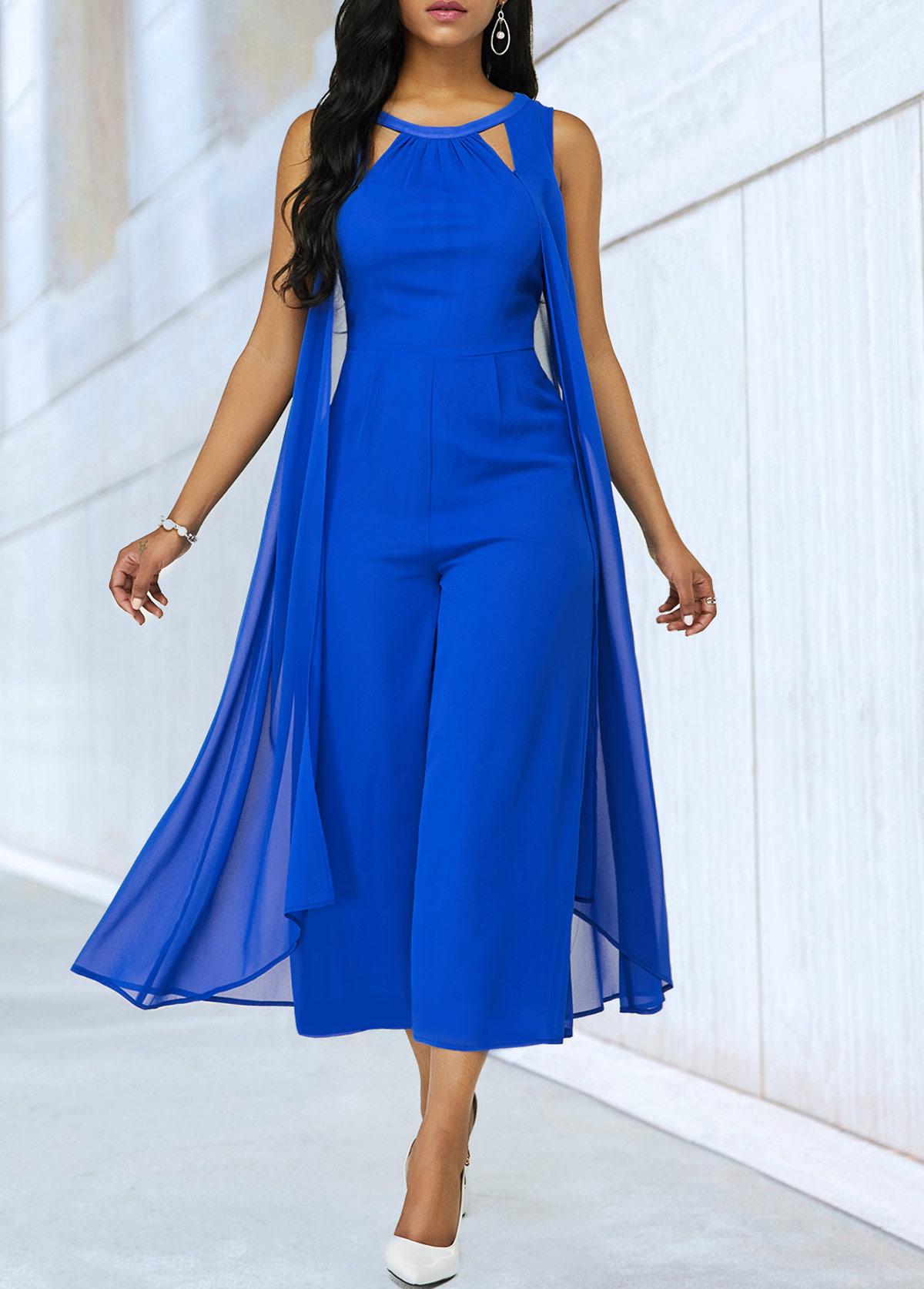 Royal Blue Cutout Neckline Sleeveless Chiffon Jumpsuit