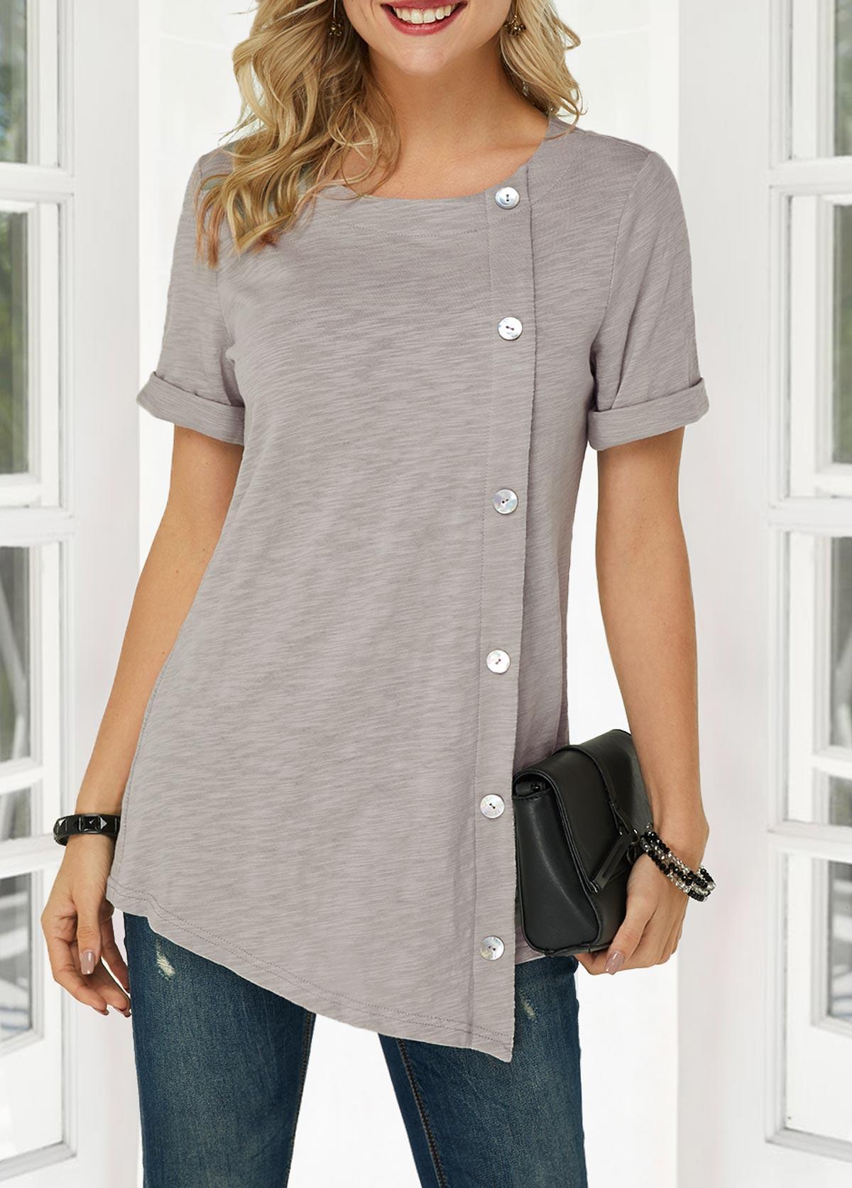 Button Detail Asymmetric Hem T Shirt