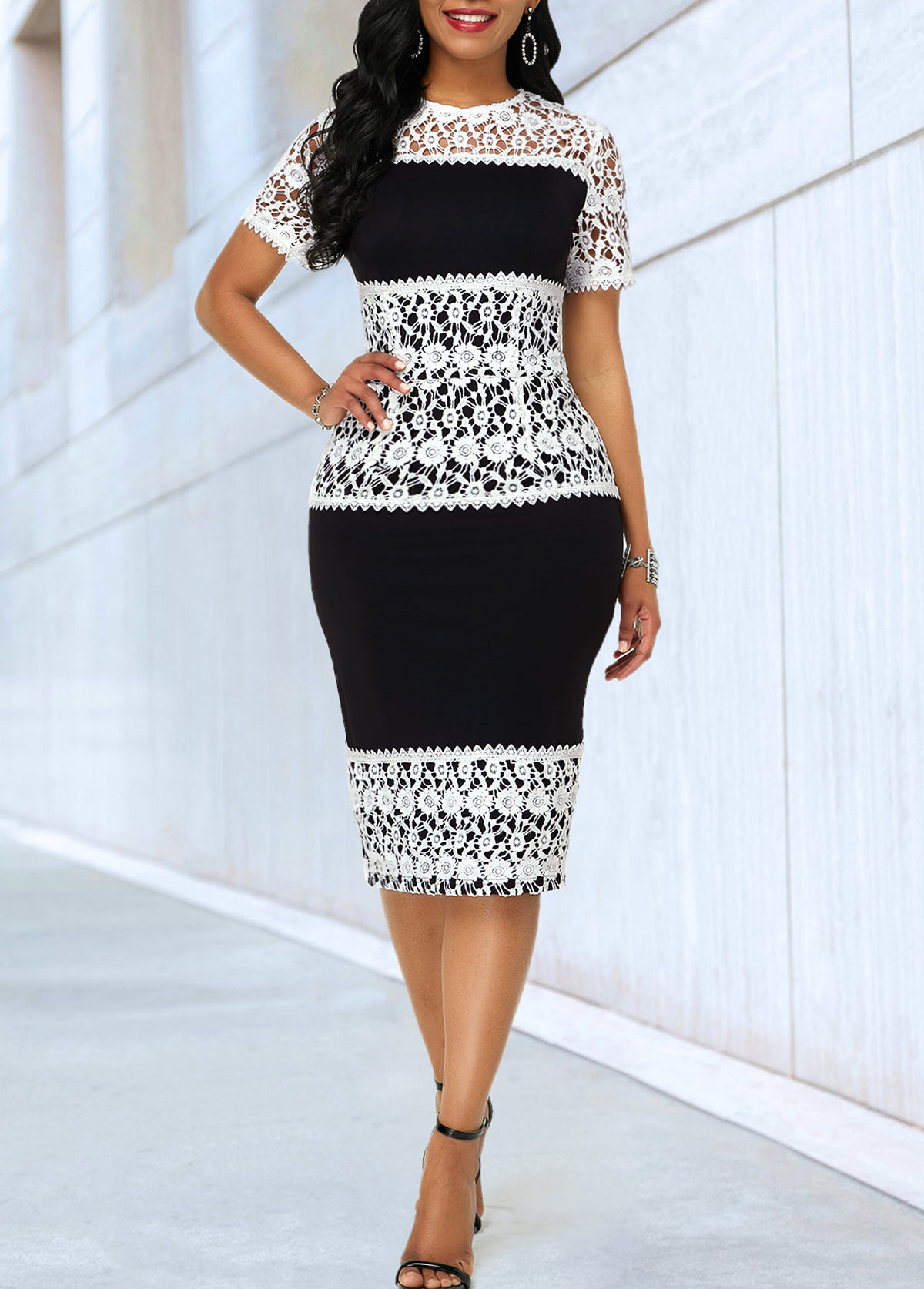 Short Sleeve Lace Panel Sheath Dress