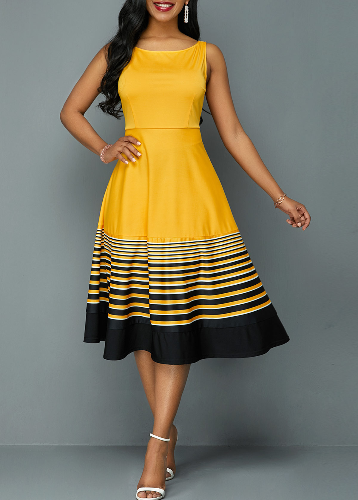 ROTITA Sleeveless Stripe Print High Waist Dress