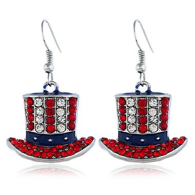 Patriotic Hat Shaped Rhinestone Decorated Earrings