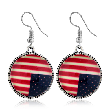 American Flag Design Round Shape Earrings