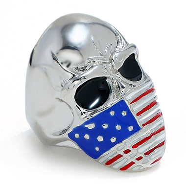 Silver Metal Flag Design Skull Ring