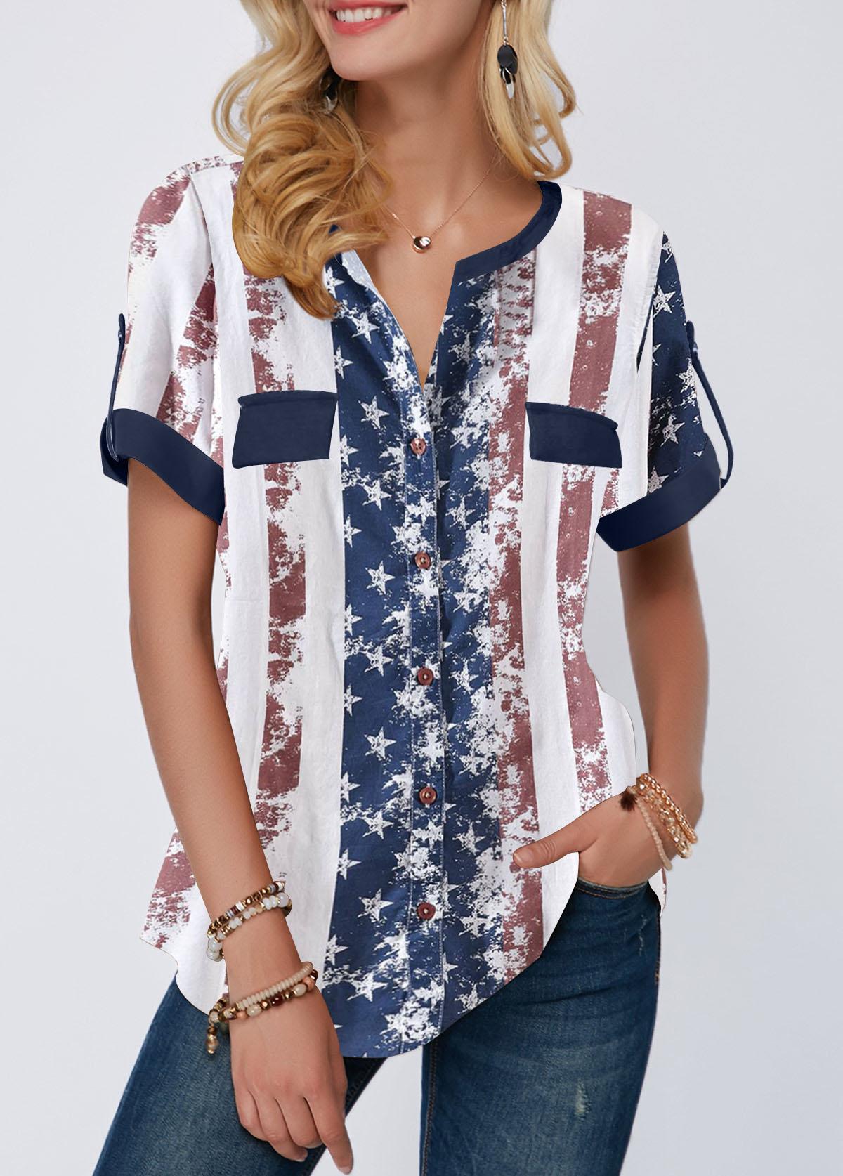 ROTITA Roll Tab Sleeve American Flag Print Curved Hem Blouse