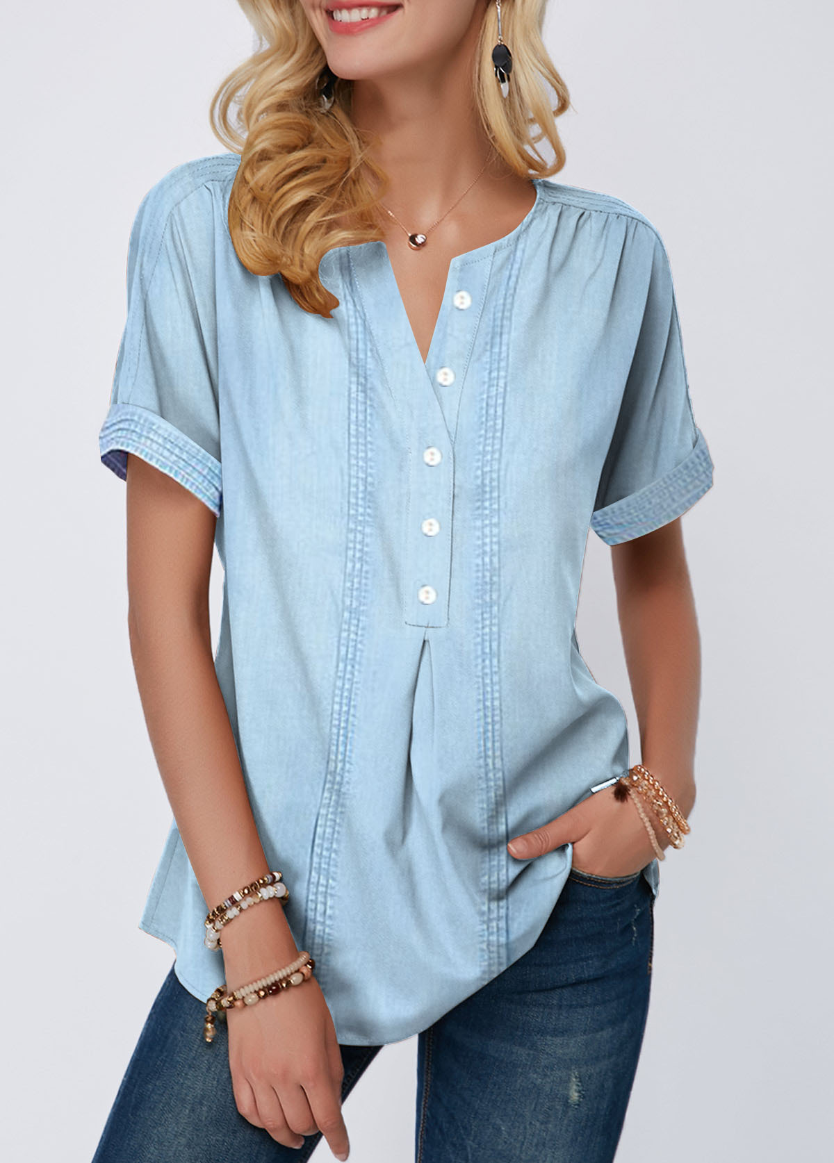Roll Sleeve Button Front Split Neck Blouse