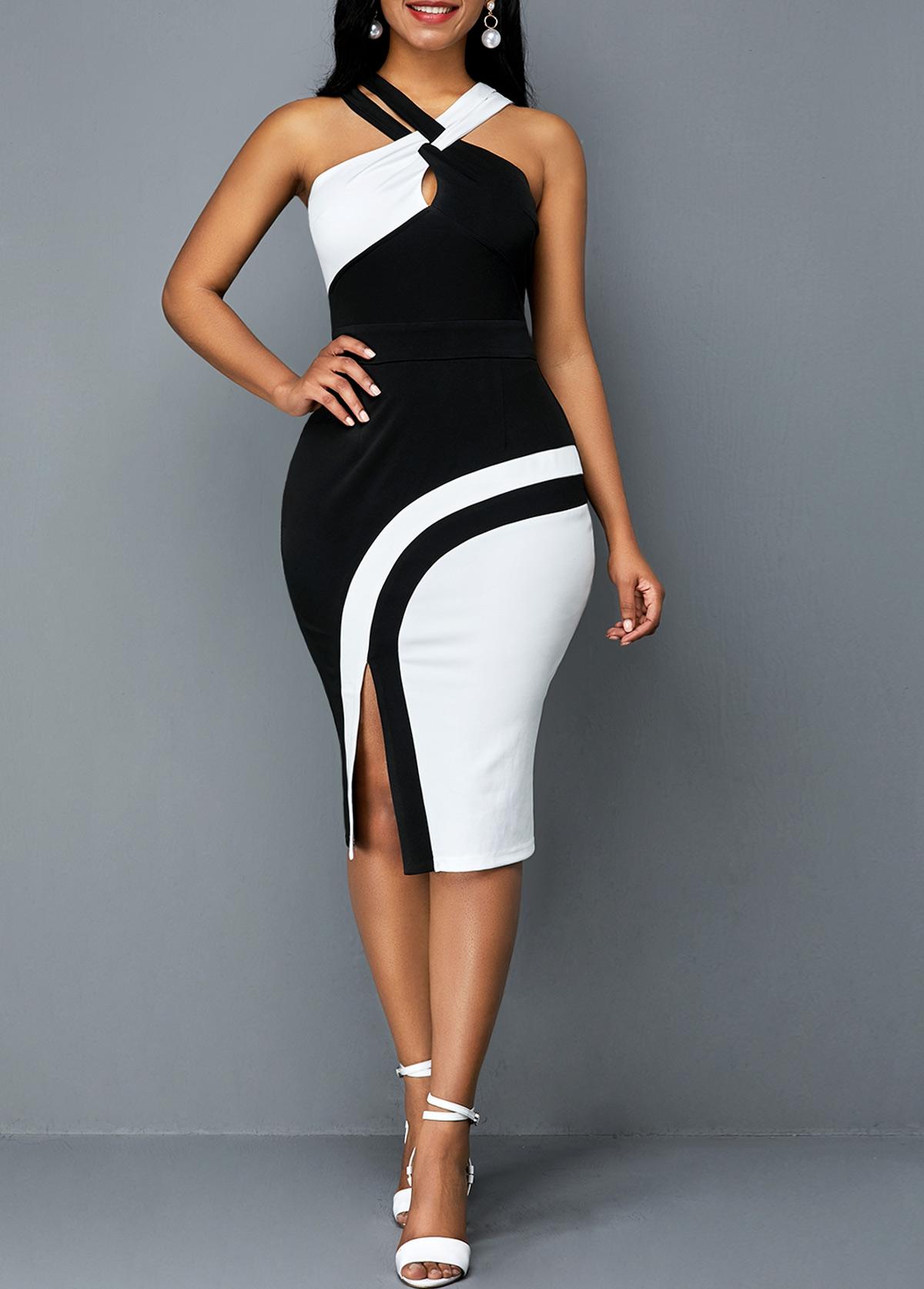 ROTITA Side Slit Color Block Sleeveless Sheath Dress