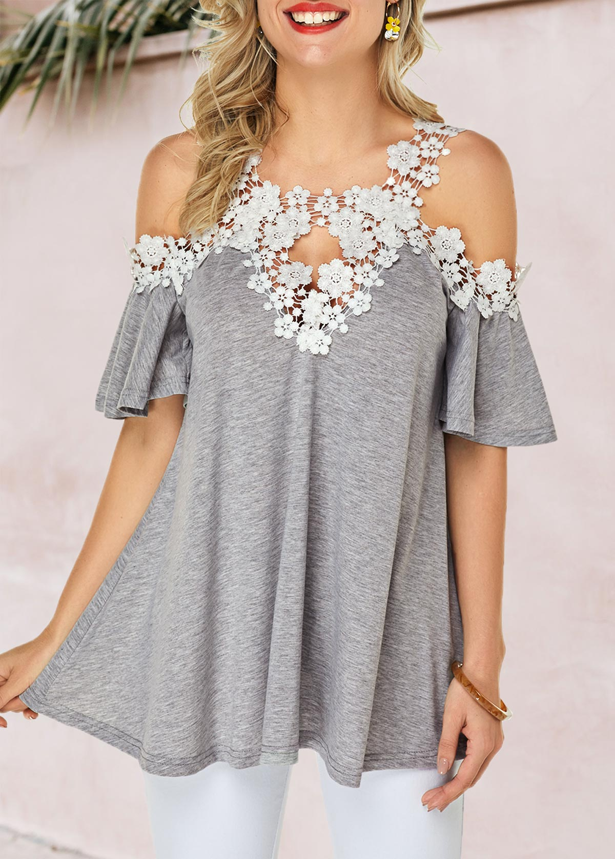 Strappy Cold Shoulder Flare Cuff Blouse