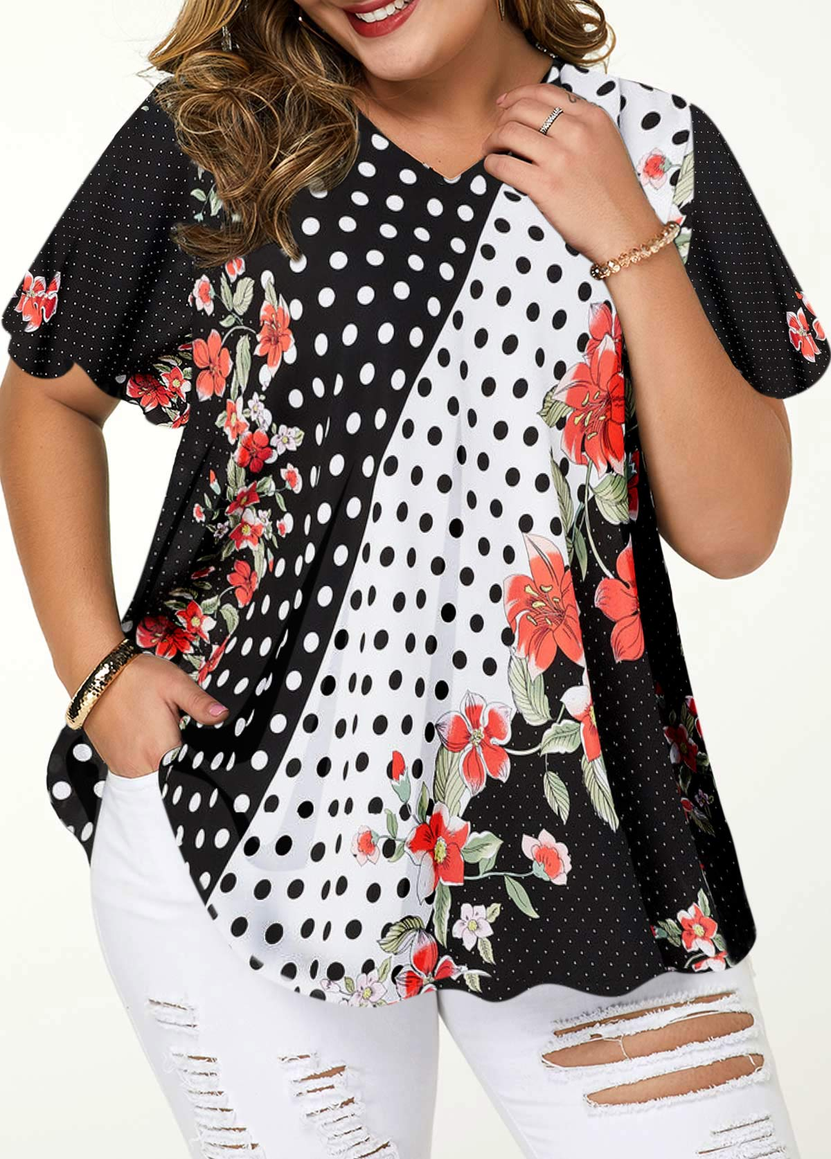Plus Size V Neck Printed Blouse