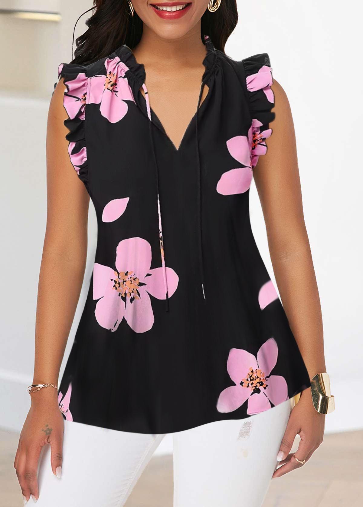 Ruffle Trim V Neck Flower Print Tank Blouse