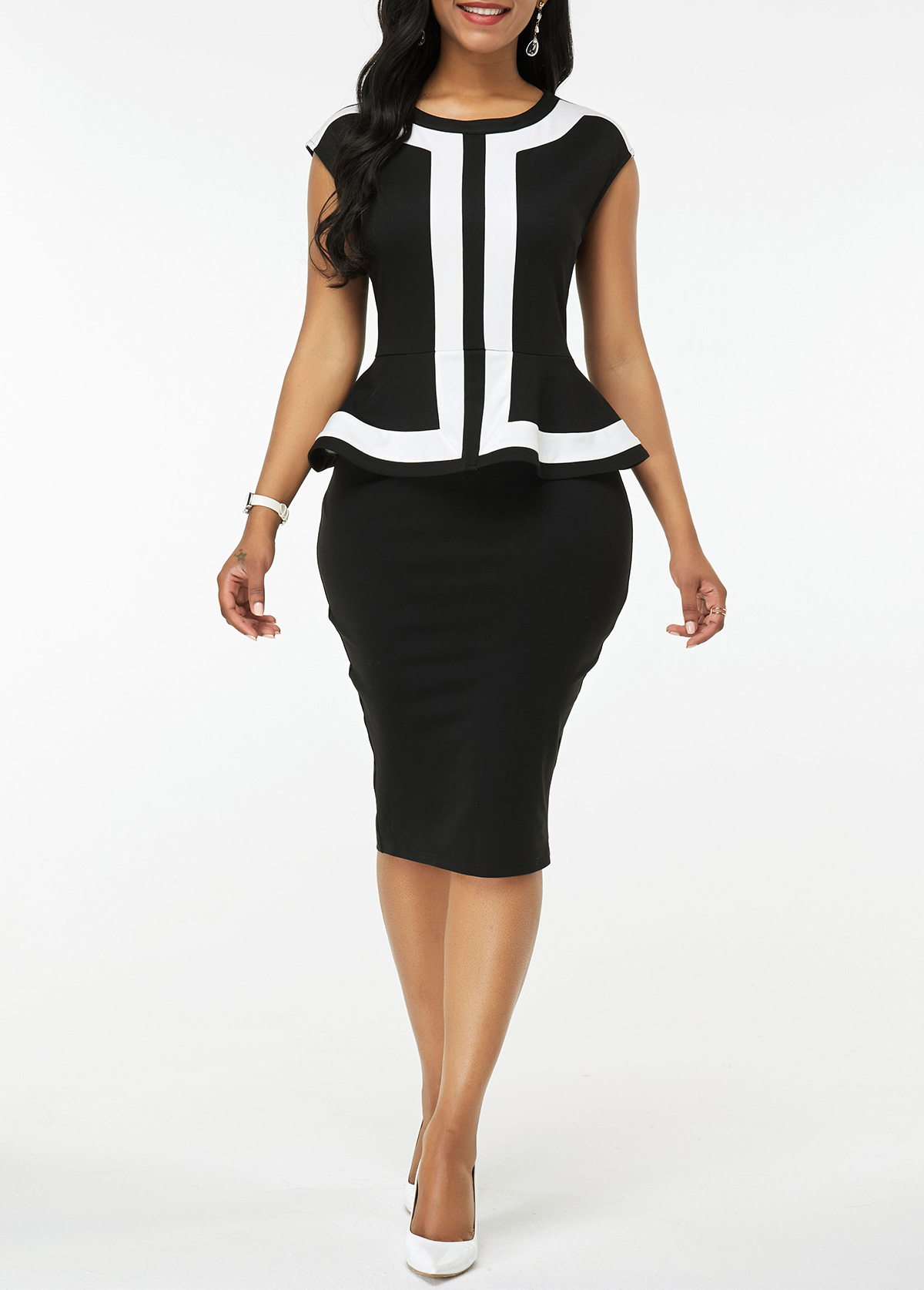 Faux Two Piece Peplum Waist Cap Sleeve Dress