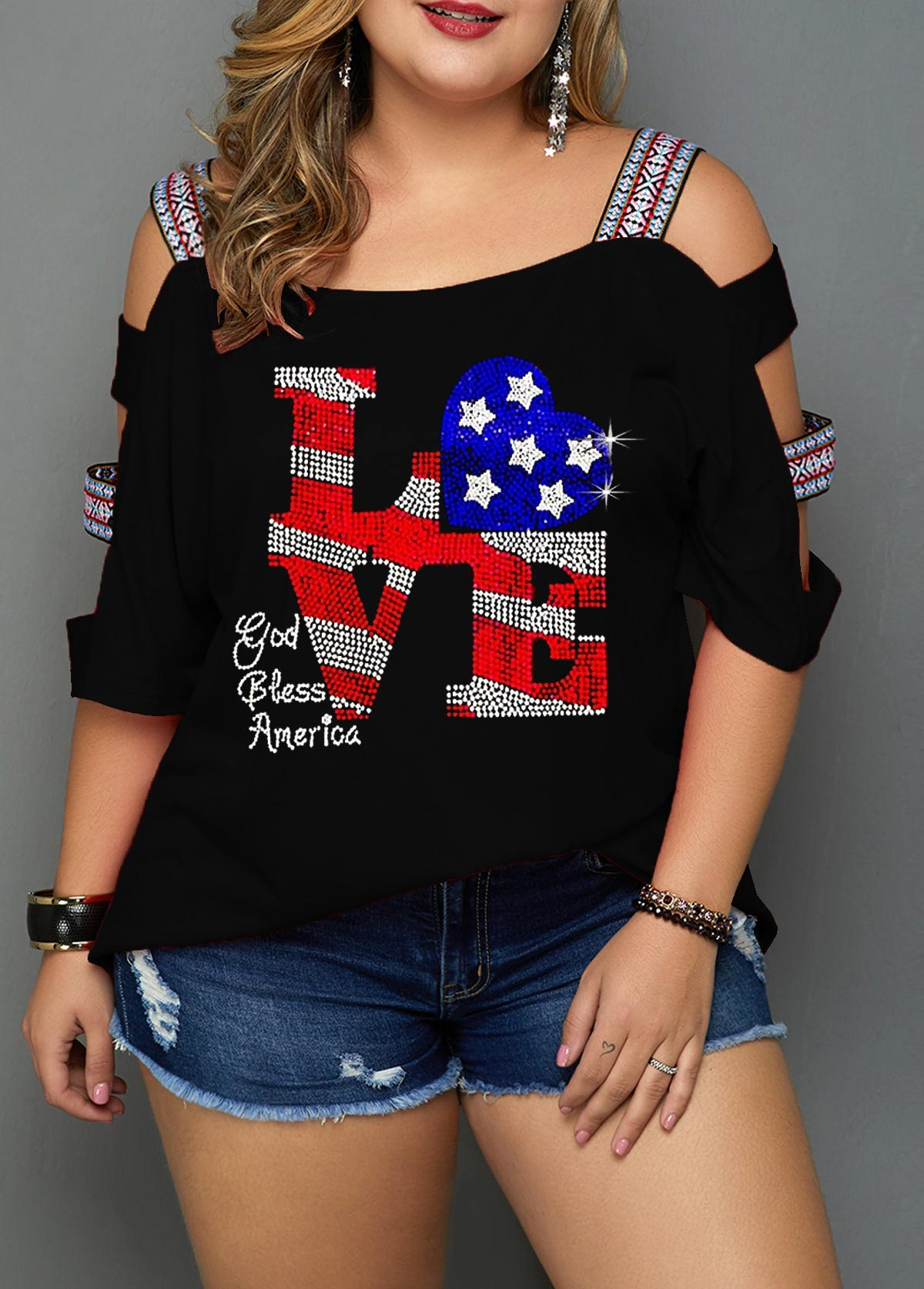 Star Print Cutout Sleeve Plus Size Blouse
