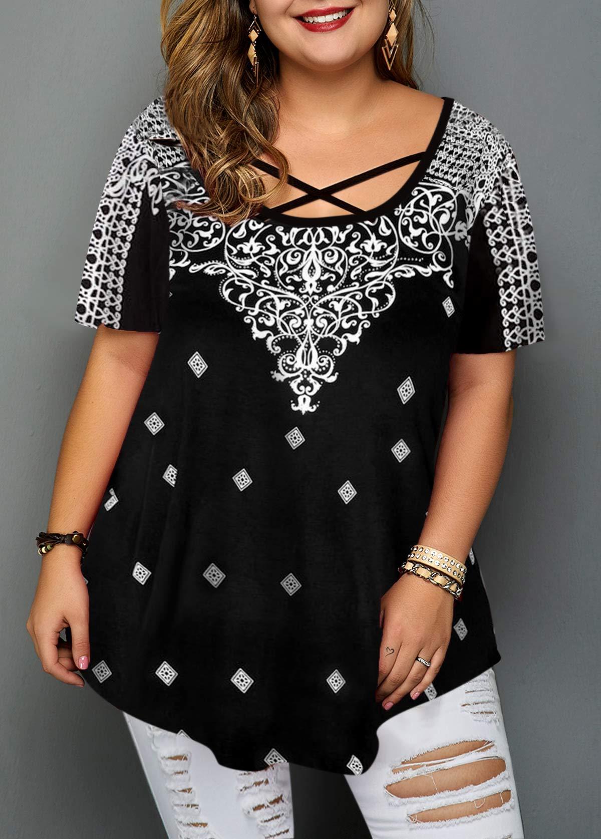 Plus Size Short Sleeve Criss Cross Front Blouse