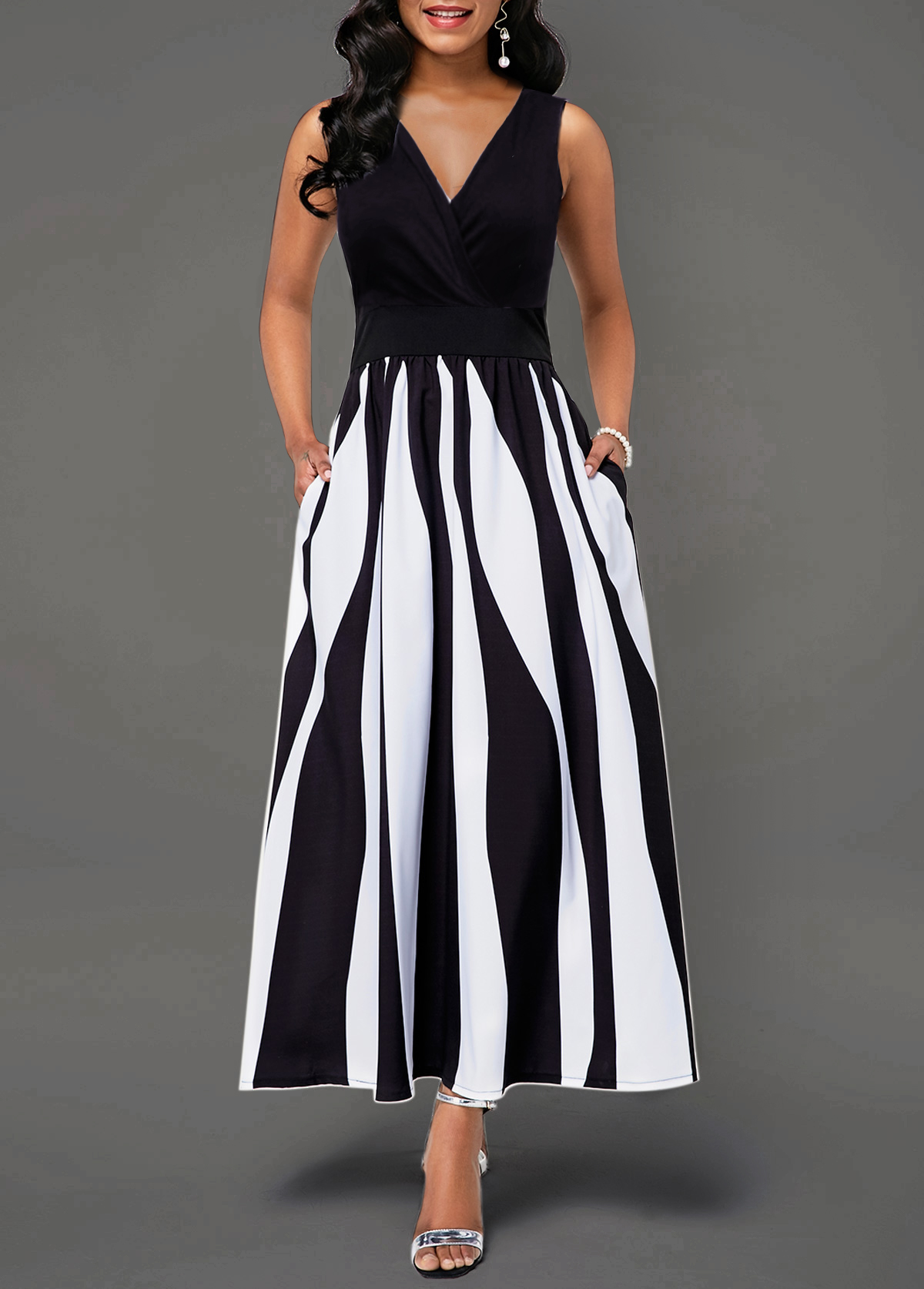 Sleeveless V Neck Color Block Dress