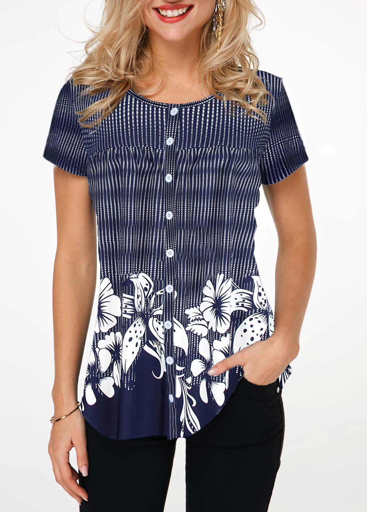 Dot and Flower Print Button Up Shirt
