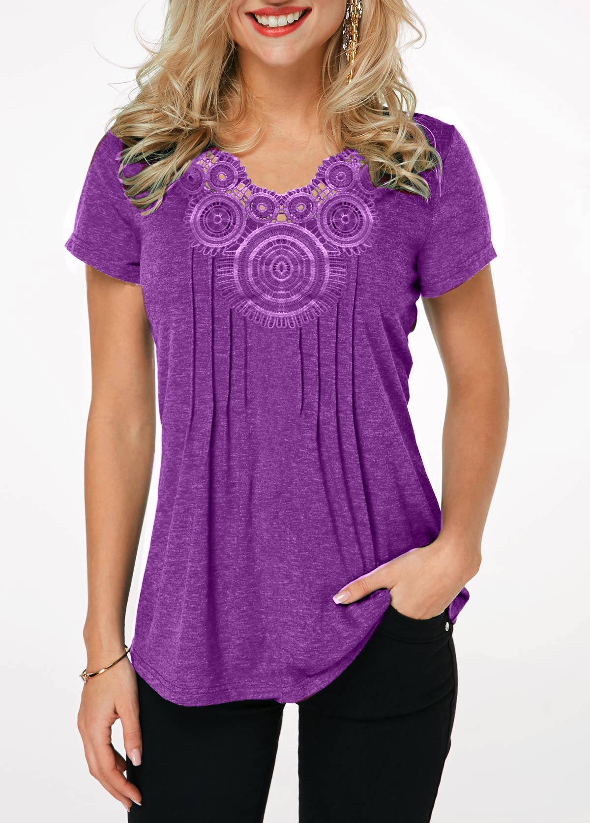 Lavender Short Sleeve Crinkle Chest T Shirt
